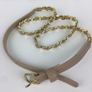 NWT Ann Taylor Nude/Gold chain skinny belt Size S